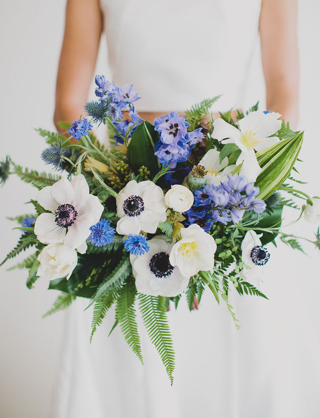 Blue + White Bridal Bouquet | Wedding Design | www.foundandkept.com