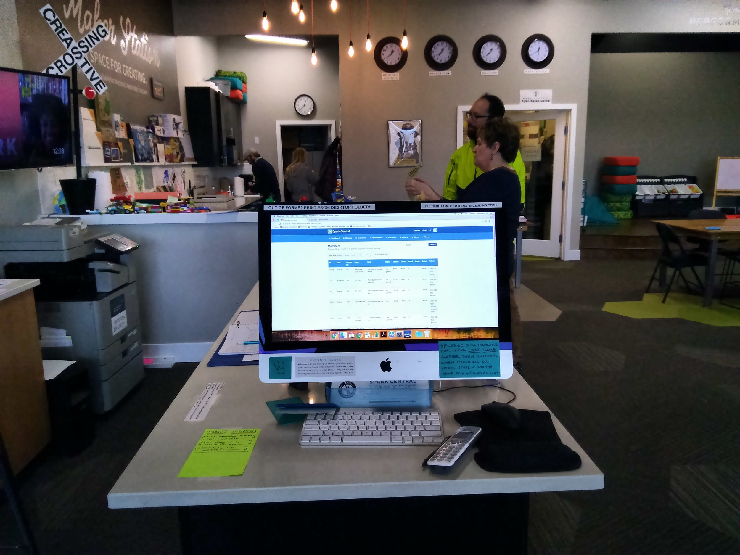 Library Terminal - The Library terminal is located at the end of the front counter. It is for volunteer use only. Membership forms and staff business cards are located in holders on top of the front counter and directly behind the terminal.