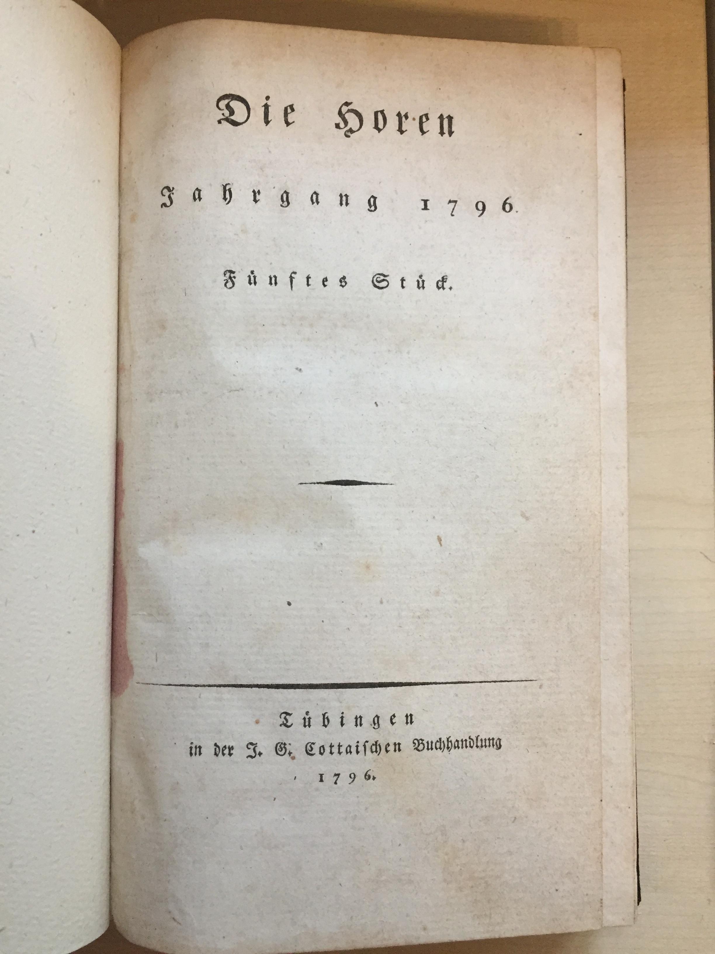 Die horen , jahrgang 1796