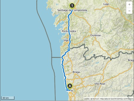 all in all about 250/260 km