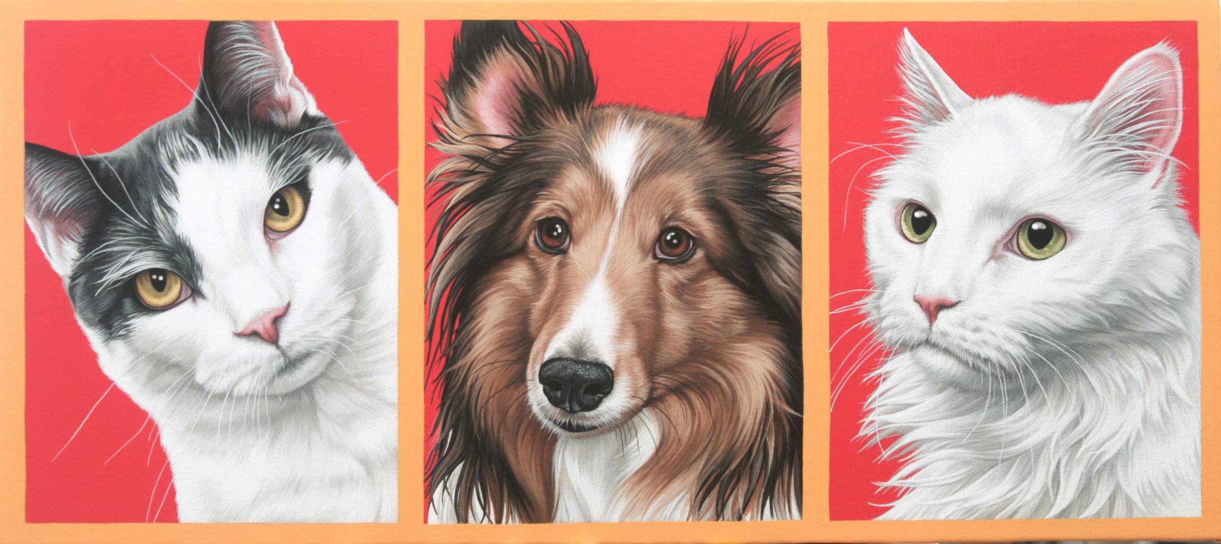"""Tryp, Chepi + Gaby"", latex enamel on canvas, 12"" x 27"", 2016"