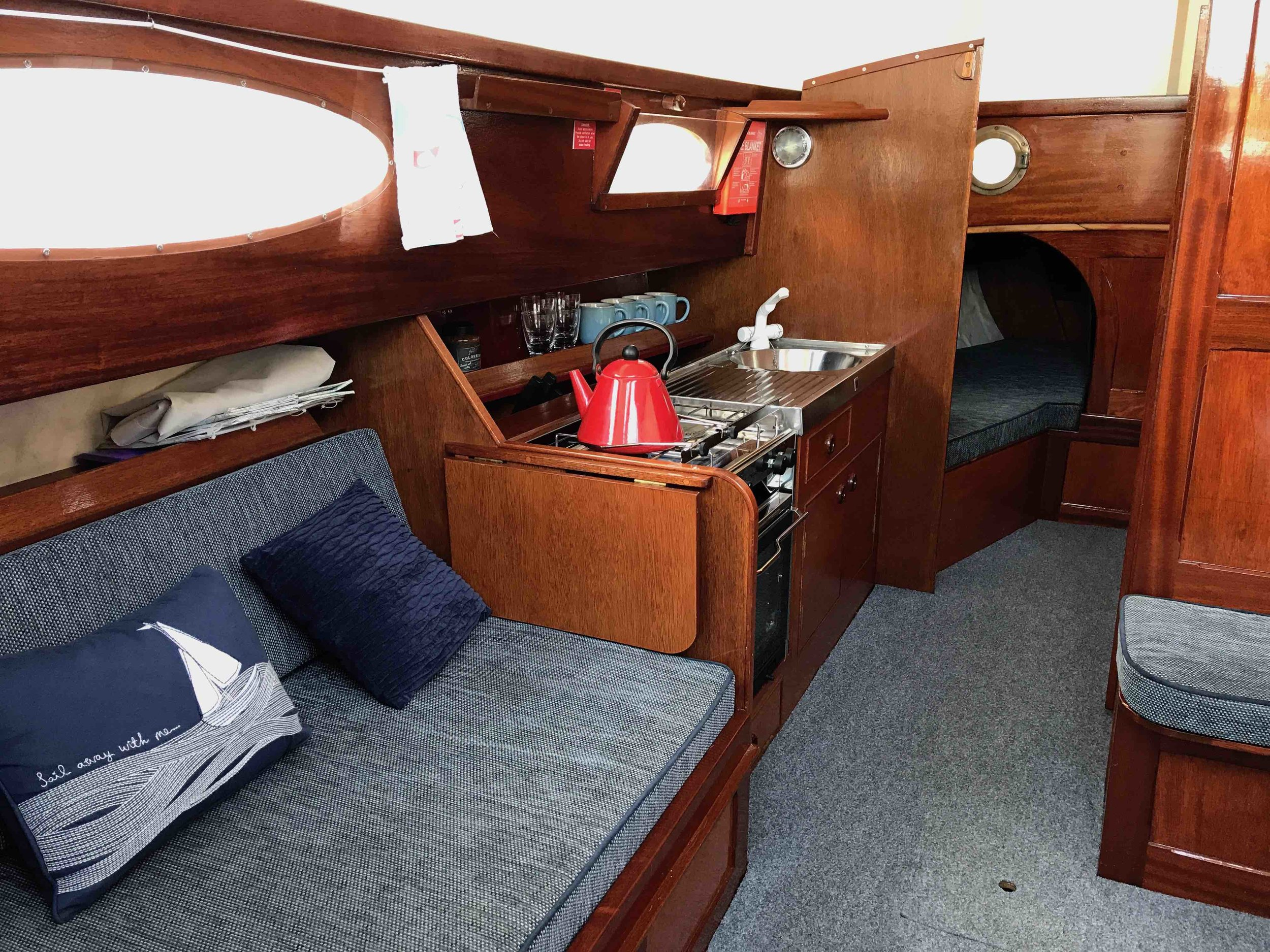 Copy of Interior of a traditional Norfolk Broads Sailing Boat