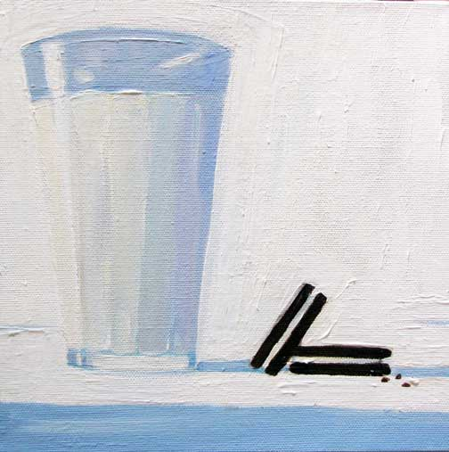 Cookies and Milk  8 x 8 inches Oil on Canvas 2009
