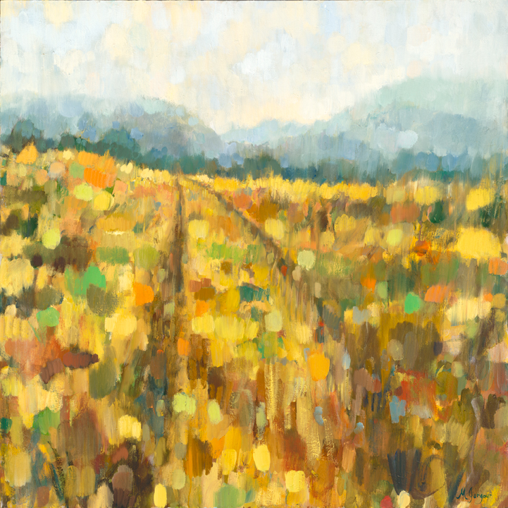 Running From It All , 60 x 60in . Oil on Canvas, $4400 ©Marianne Gargour, www.mgargour.com
