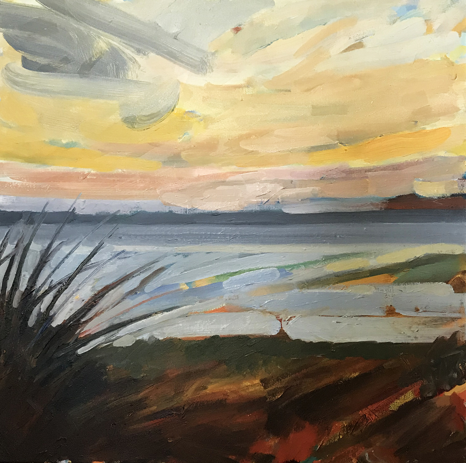Sunset by the Beach, 24 x 24in. $950