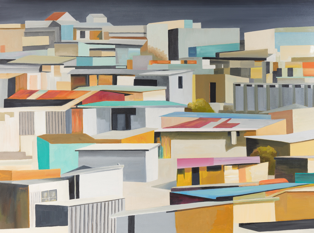 "SHELTERS Capetown, oil/canvas, 36""x48"", 2018"
