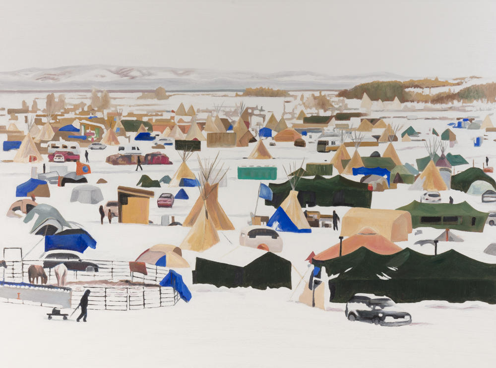 "SHELTERS Standing Rock, oil/canvas, 36""x48"", 2018"