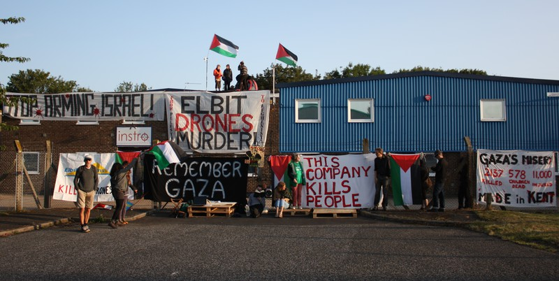 A photo given out by activists shows Elbit-owned targeting and optics plant Instro Precision in Broadstairs, Kent is once against shut down today.