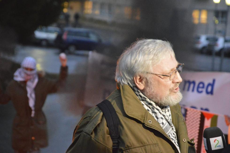 Lars Gule. Fra demonstrasjon i regi av BDS Norge utenfor Nammos hovedkontor på Raufoss.