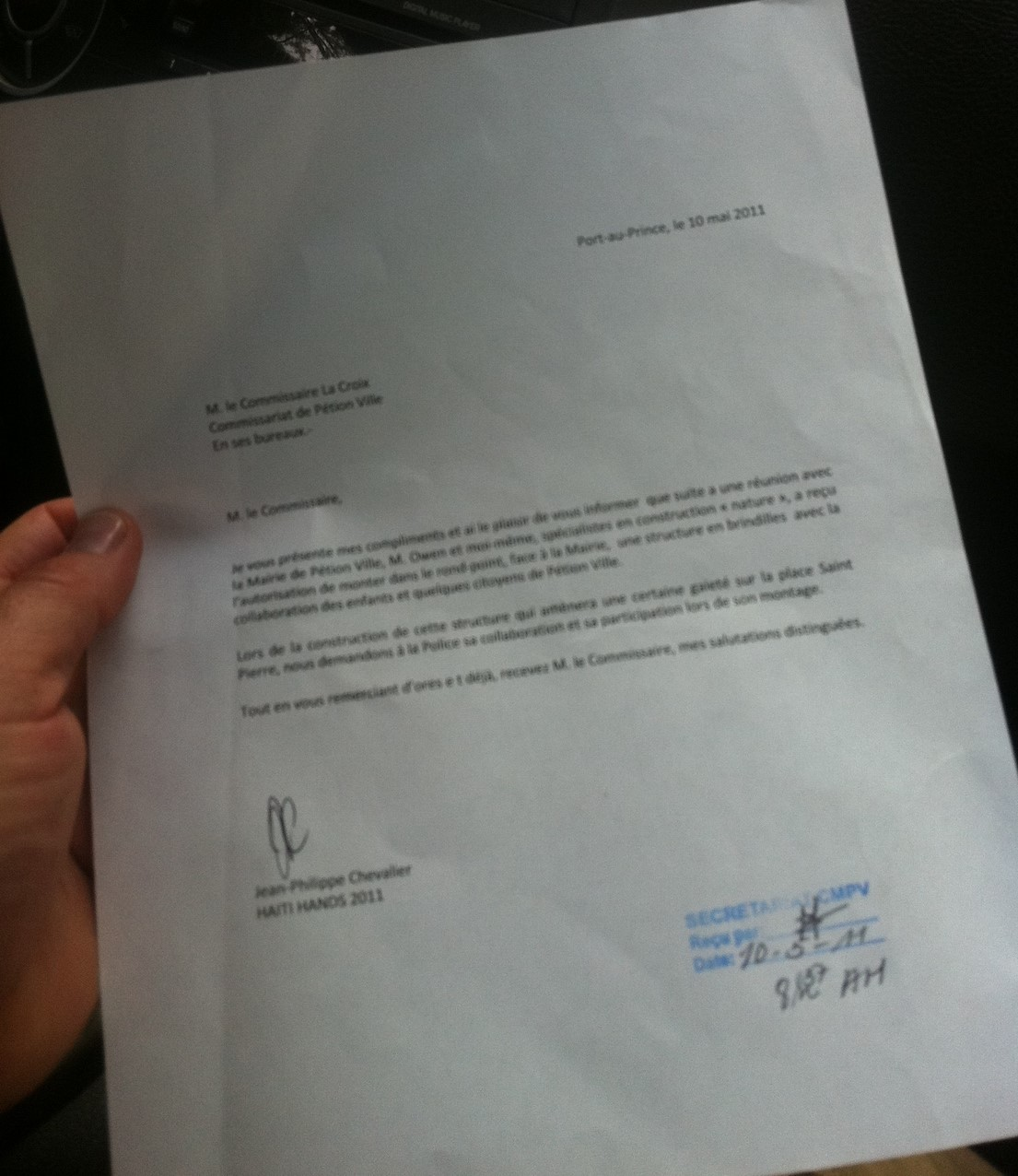 letter from the port au prince mayor allowing use of the park