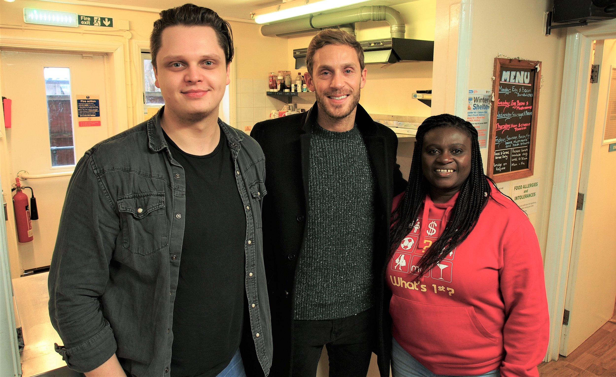 Sam (Fundraising & Communications), Josh (GS8), and Prisca (TST) at the Haven Support Centre