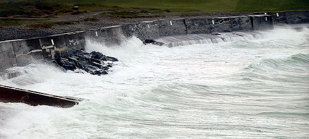 APRIL 2018 9.3 mtr. tide wind force 6-7  Temporary Rock Armour in place before removal of the wall.   photo - G.Blanchford