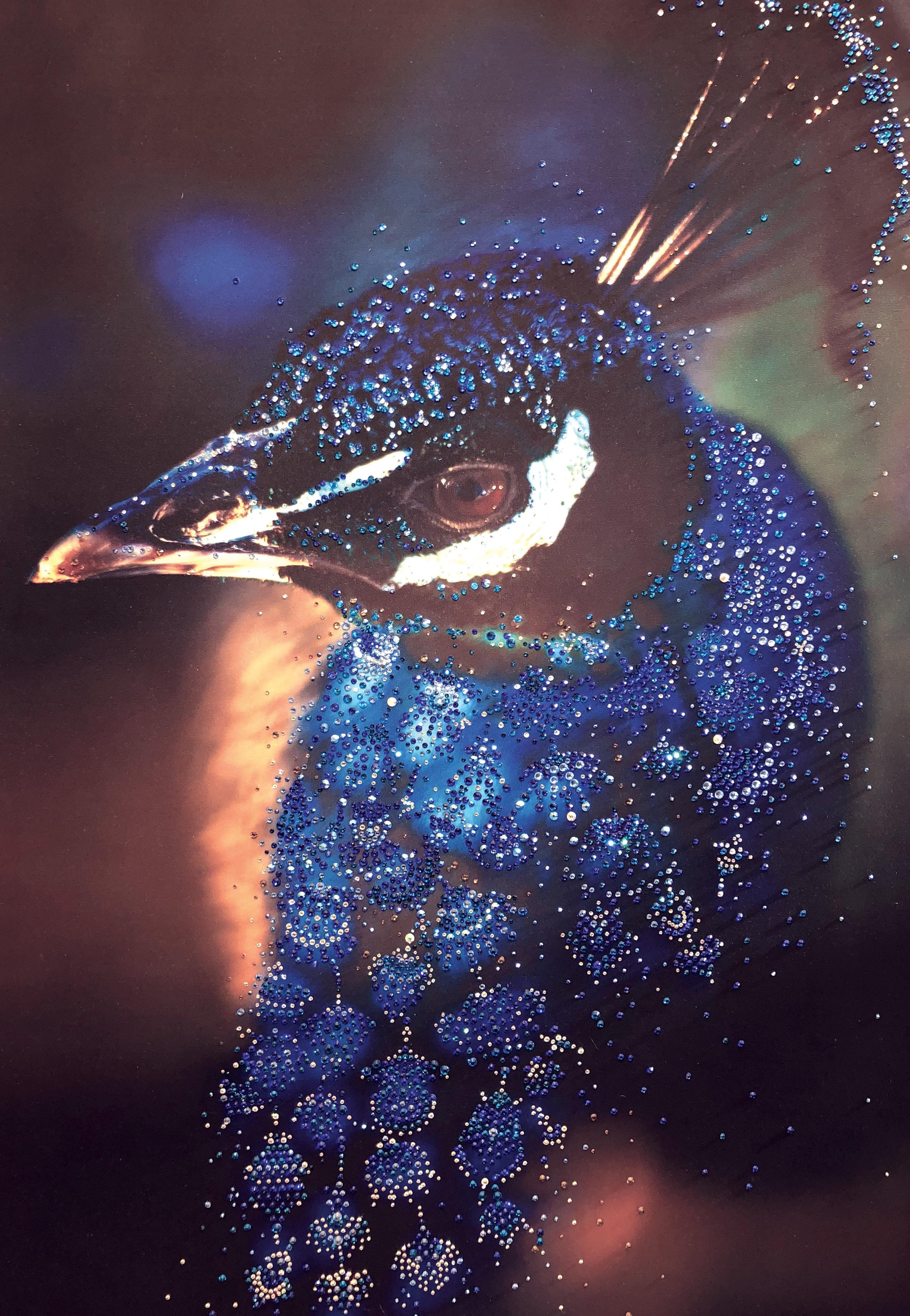 PAVONE - VanitartCollezione AnimaliMisura 70x100 cmLavorazione in cristalli Swarovski