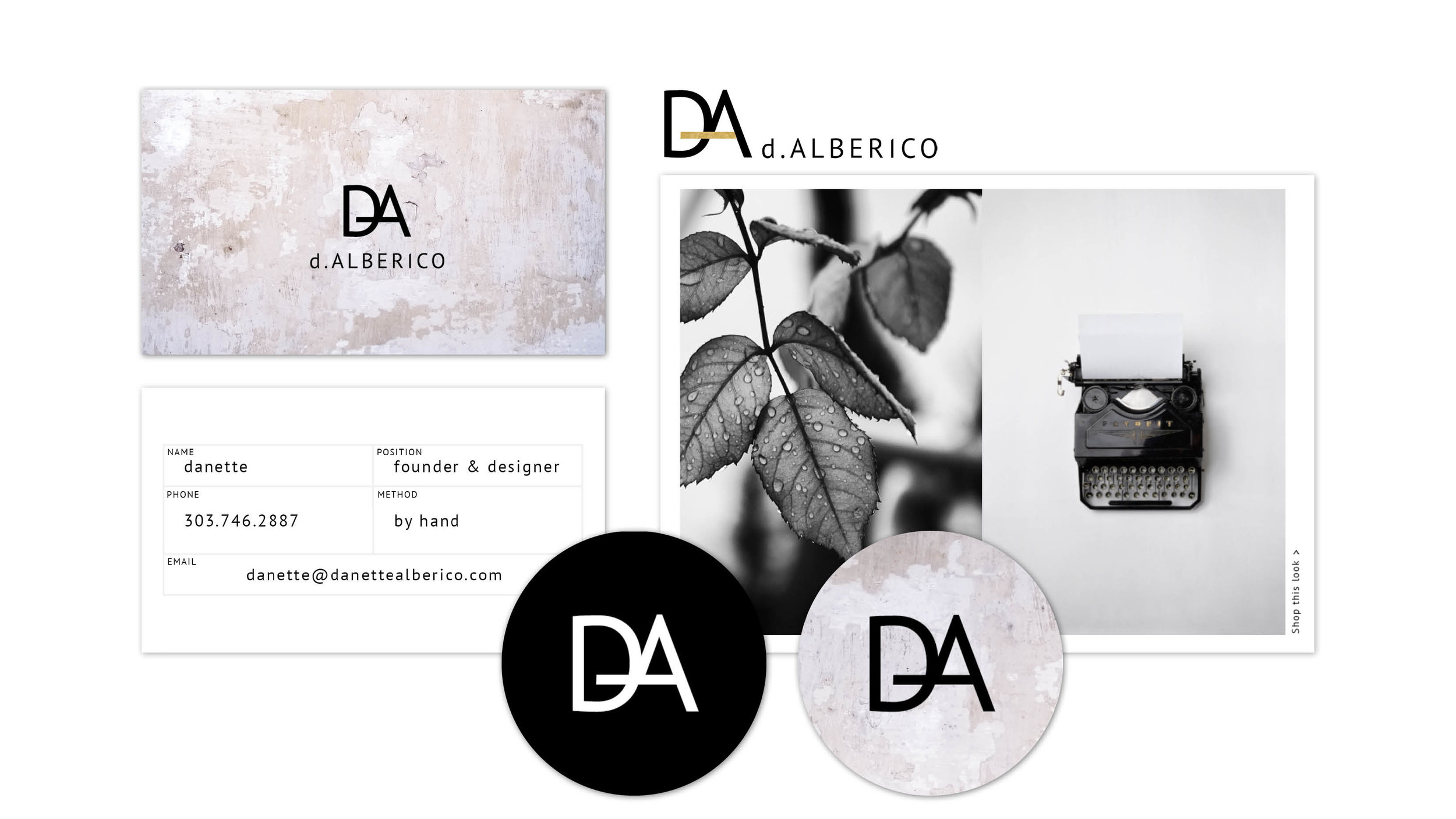 Stephanie Wencl, of SW Designs created collateral for Danette Alberico. These graphic design projects consists of Business Cards, stickers, tags and promotional cards