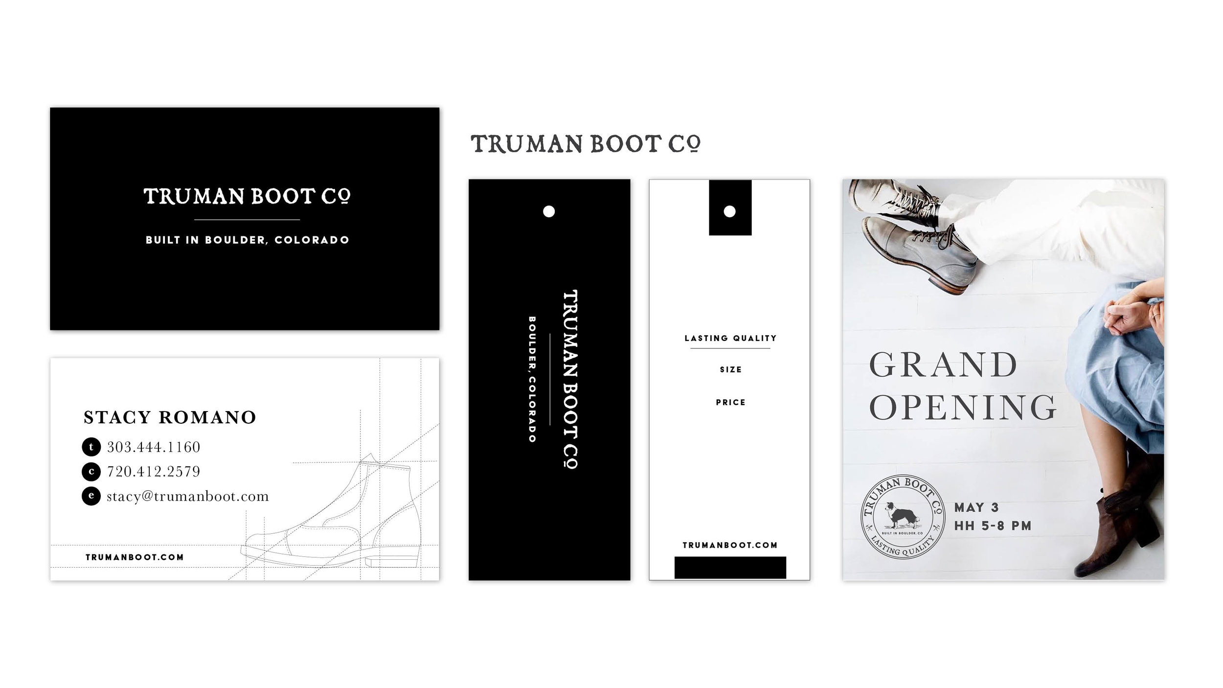 Stephanie Wencl illustrated architectural drawings for custom marketing materials and business cards for Truman Boots in Boulder, CO.