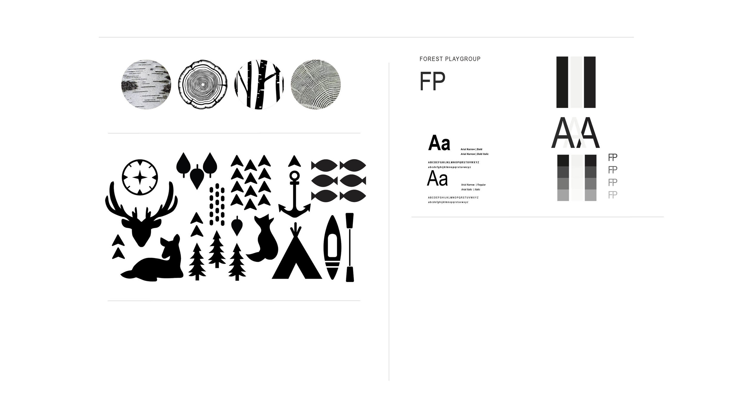 Typography and illustrations were paired by Stephanie Wencl for Forest Playgroup Branding.