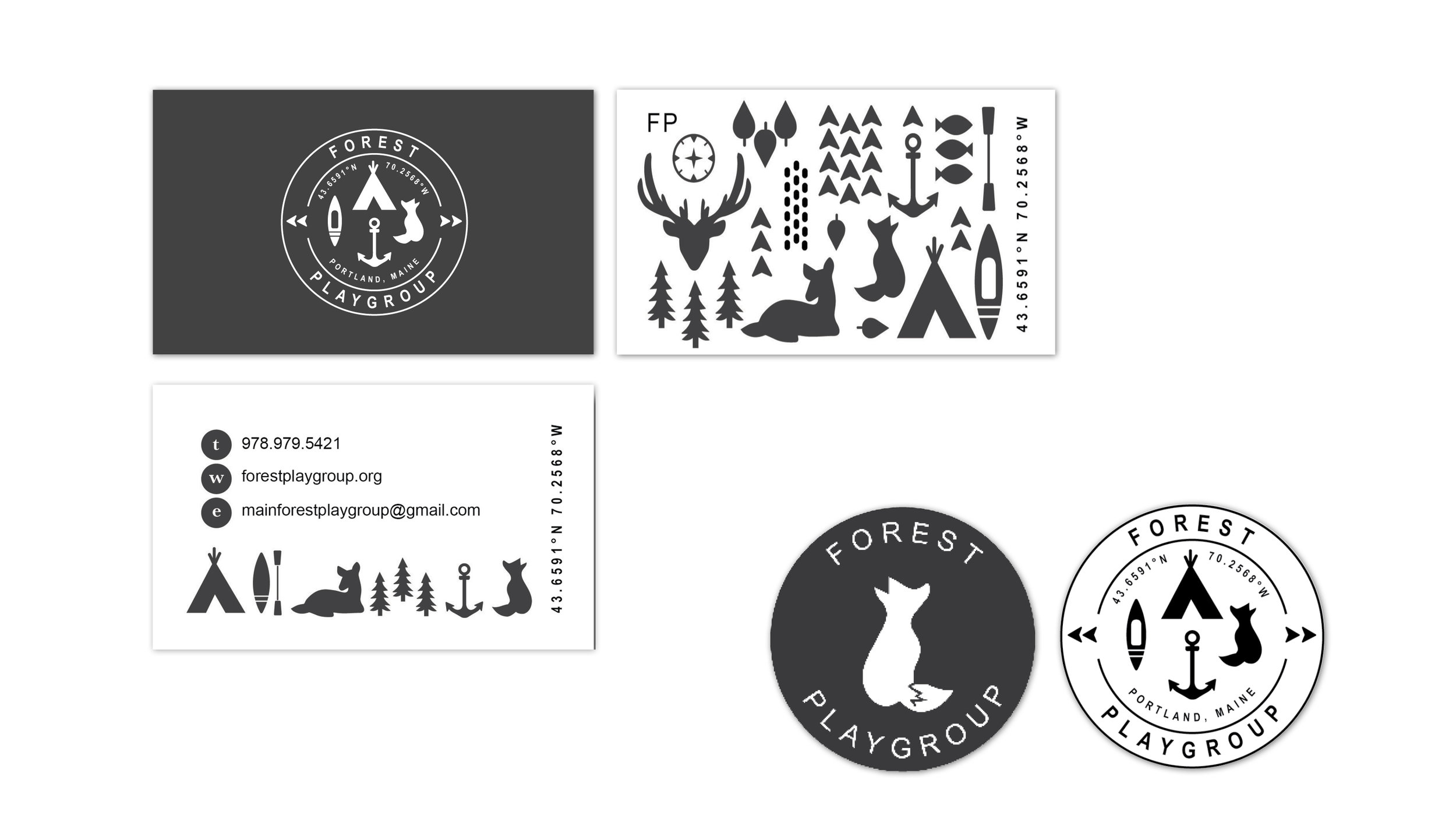 Stephanie Wencl created collateral for Forest Playgroup. These graphic design projects consists of Business Cards, stickers, and promotional cards