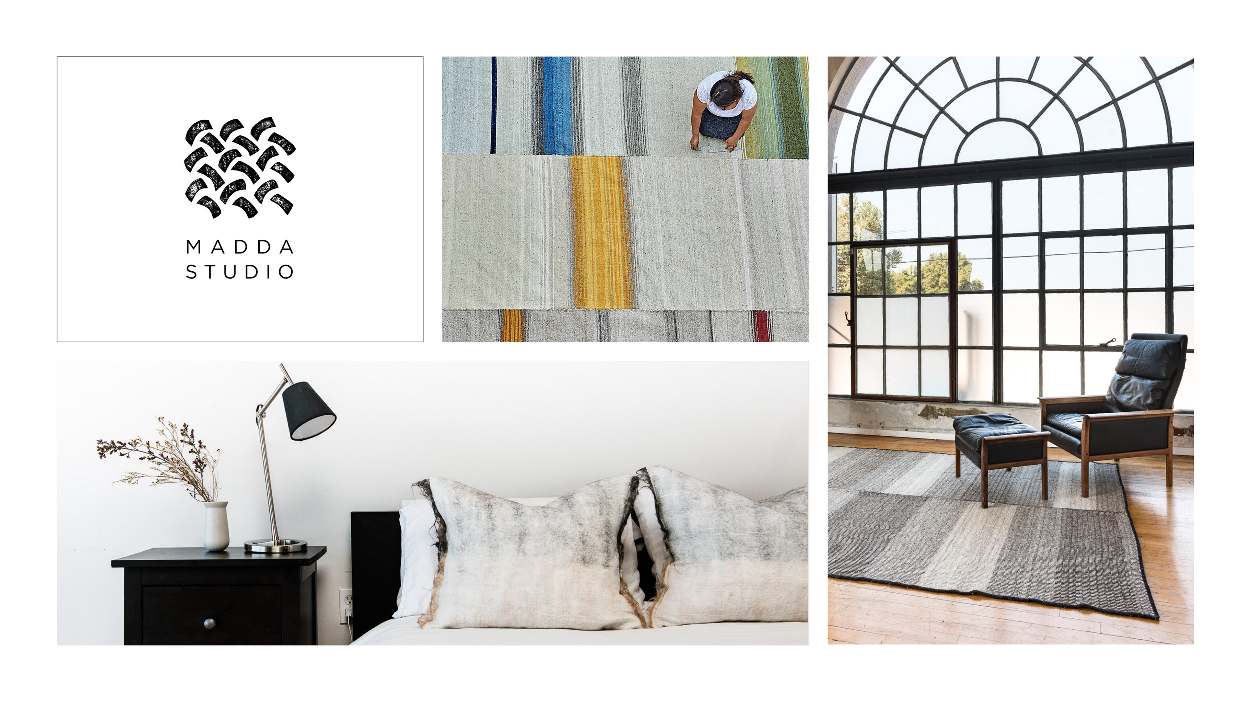 The Logo and Website for Madda Studio was created to launch the exclusive collection of handmade rugs and interior designs. Projects include logo design, supporting assets, marketing materials and squarespace website.