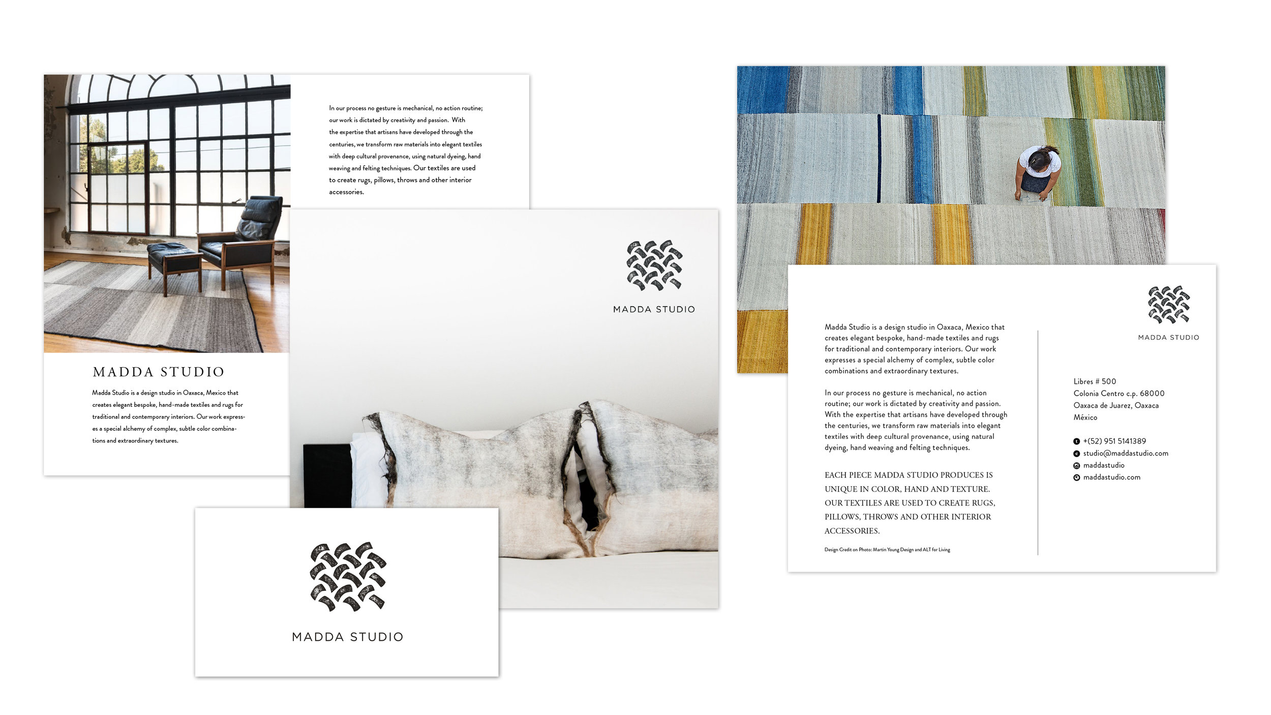 Graphic design projects for Madda Studio consists of a Trifold, Business Cards, Postcards, and a squarespace website.