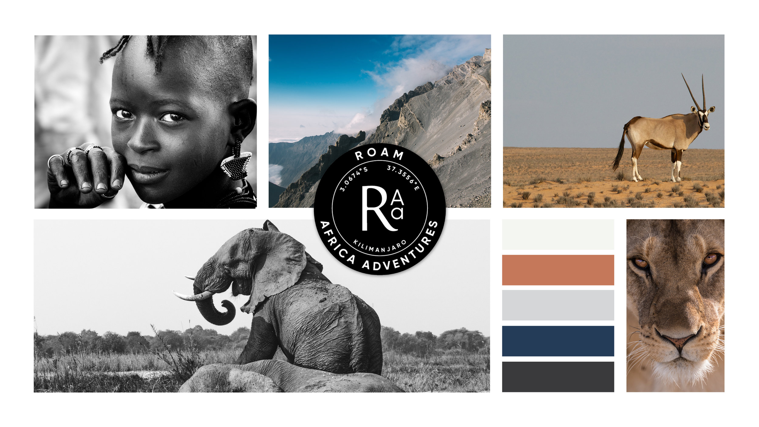 Completed in 2019, Graphic Design projects for Roam Africa Adventures (RAA)  included logo design, supporting assets, marketing materials and squarespace website.