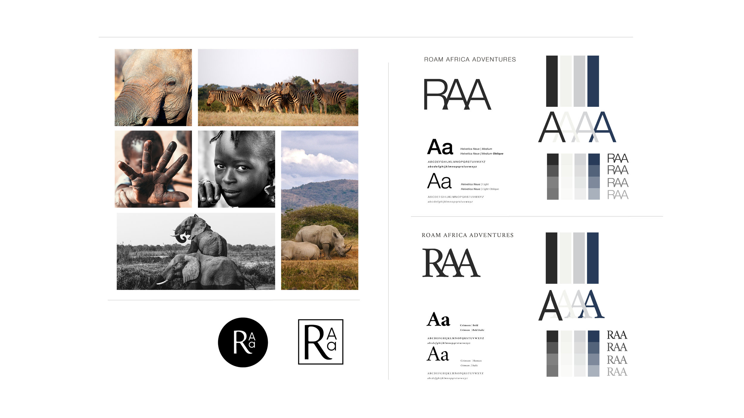 Stephanie Wencl, graphic designer for SW Designs created Roam Africa Adventure (RAA's) logo design, supporting assets, marketing materials and squarespace website.