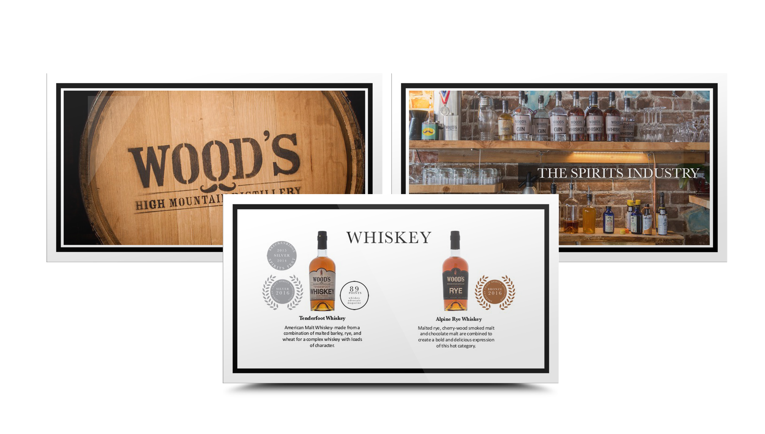 This presentation was designed for Wood's Distillery. The pages showcased he company's whiskey products, values and annual goals.