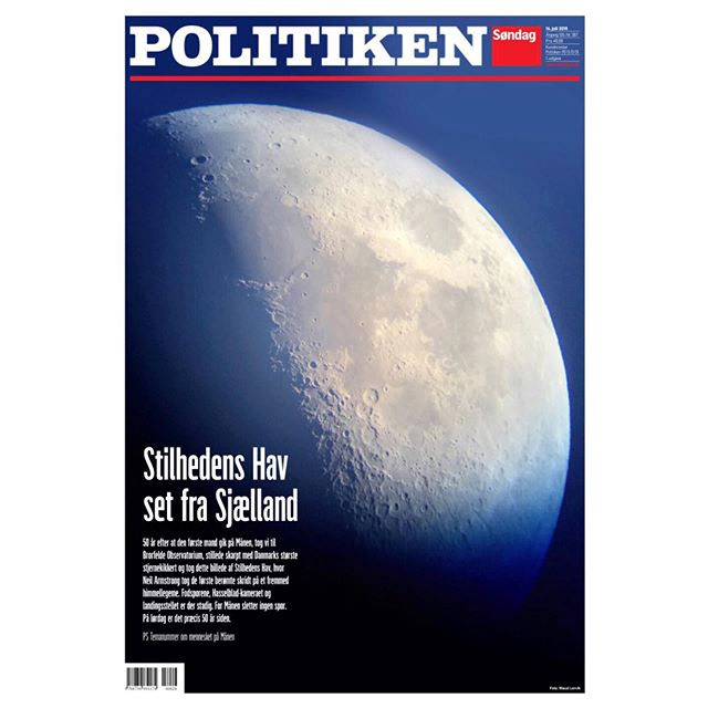 Over the moon for having this picture on the cover of @politiken today. Shot through Denmark's biggest telescope at @brorfeldeobservatorium 🌔 #onassignment #photojournalism #moonlandinganniversary