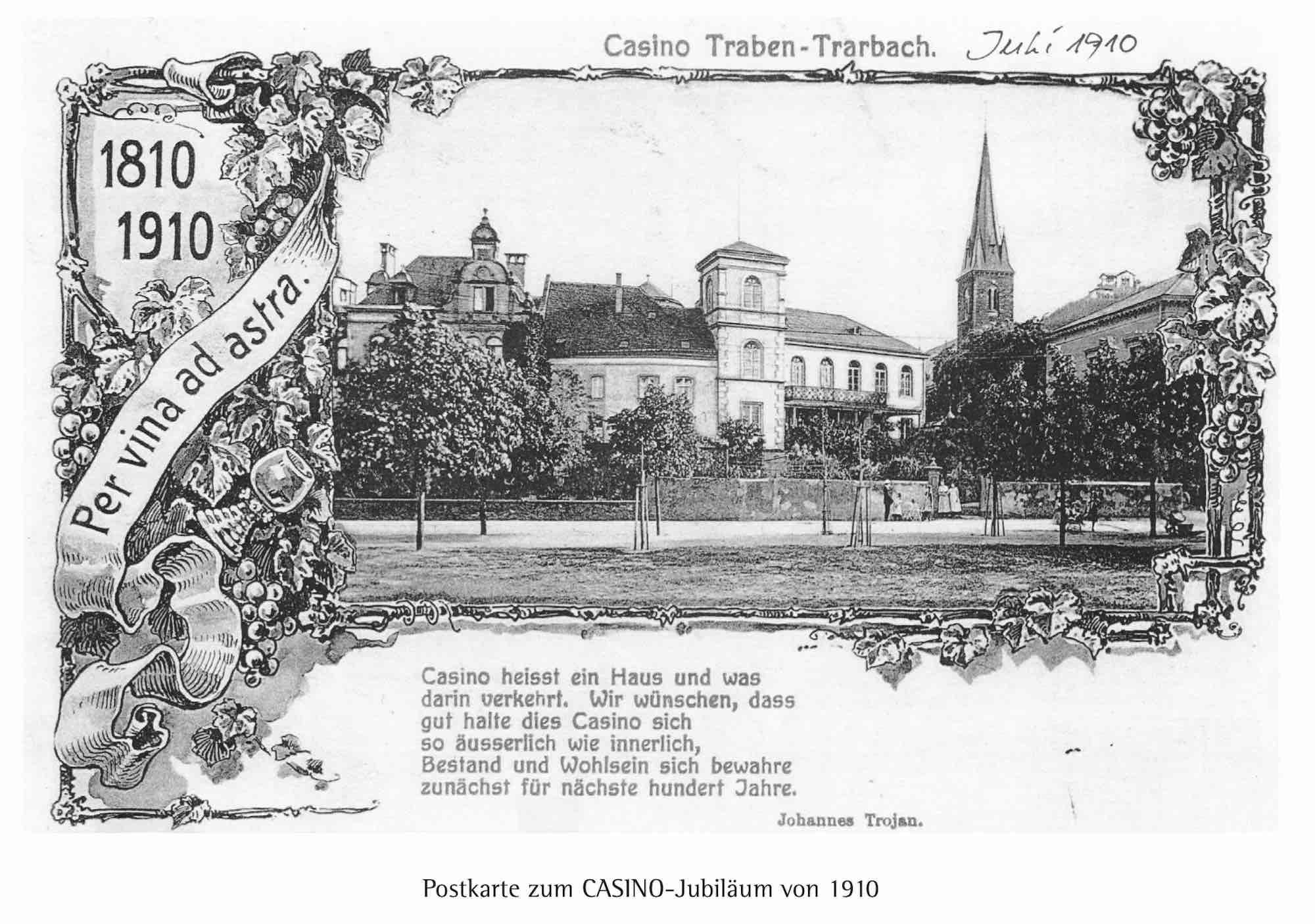 Postkarte um 1910 mit Ansicht des Casinos am Trarbacher Ufer