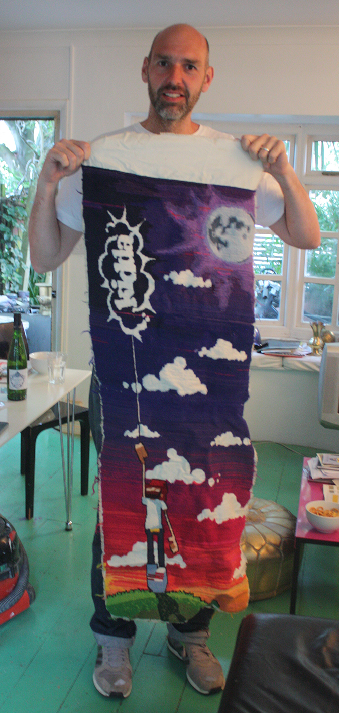 Ste with the hand made Kidda tapestry that took months.