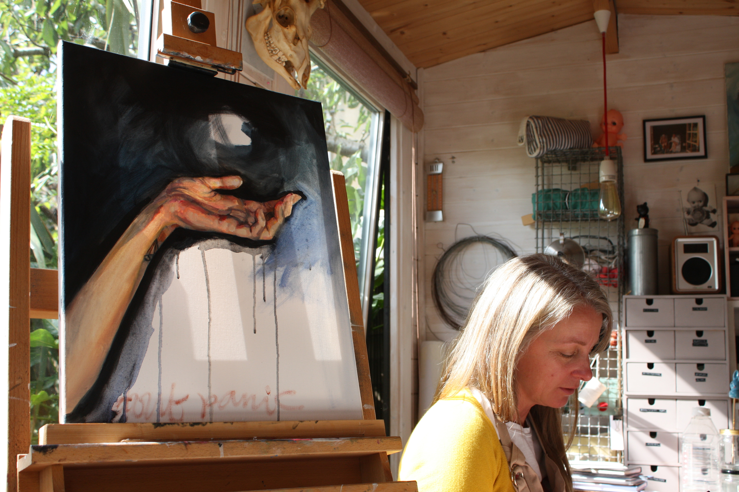 Steph with one of her works in progress