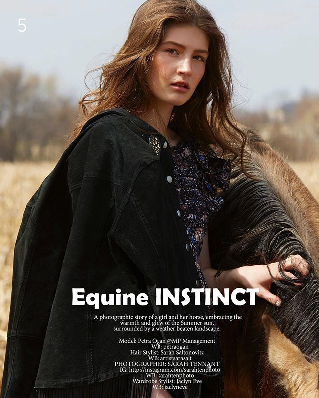 Editorial out now in @eloquemagazine 'Equine Instinct' with the beautiful @petraogan  Styled by @stylistjaclyneve  HMUA @artistsarasalt 🐴✨
