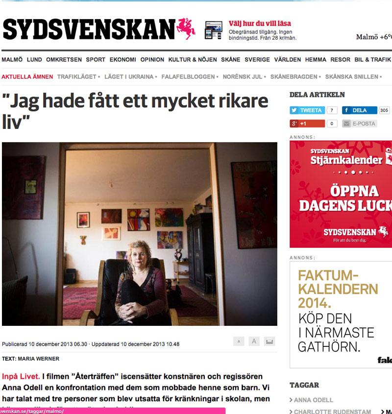 Tionde december 2013 publiceras en  artikel i Sydsvenskan  där Charlotte talar om erfarenheter av mobbning. Efter tre dagar var den delad 330 gånger på Facebook. Det känns roligt att så många engagerar sig i den frågan!