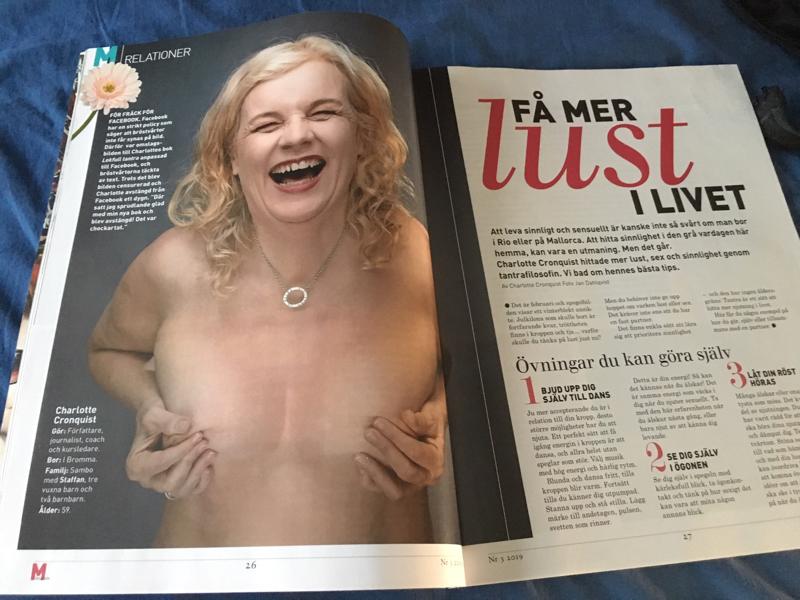 M-magasin 3/2019 - Februari 2019. Charlotte talar om sinnlighet för den mogna kvinnan i M-magasin, på fyra sidor får läsaren 12 njutningstips!