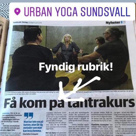 Tre timmar med Lekfull tantra i Sundsvall - April 2019. Första stoppet på Charlottes tantraturné skedde i Sundsvall, dit också Sundsvalls tidnings reporter kom.