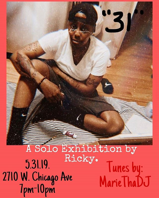 """LINK IS IN MY BIO TOO!! CHI-TOWN COME OUT AND SUPPORT YOUR ARTIST! Reposted from @visualsbyricky -  Good morning.! 🌞 4 Days away.! 🎨🎨🎨 If you haven't yet, grab your tickets ASAP to my first solo Art Exhibition entitled """"31""""  Live music, drinks, the vibe... It's all there so come through 💪🏾 Like & Share 🙏🏾 Click the link in my bio for tickets ❤️ . . . . . . . #supportblackart #visualart #visualartist #visualsbyricky  #chicagoartist #artshow #abstractart #chicagoartshow #blackartists #blackartmatters #blackartist #chicagoarts #artlife #blackartistchicago #chicagopainters #chicagolife #abstractartist #chicago #chicagoartwork #artist #chicagoartists #chicagonightlife #abstract #blackartsupport #blackartistsmatter #chicagoartscene #blackartwork #chicagoart #veteran"""