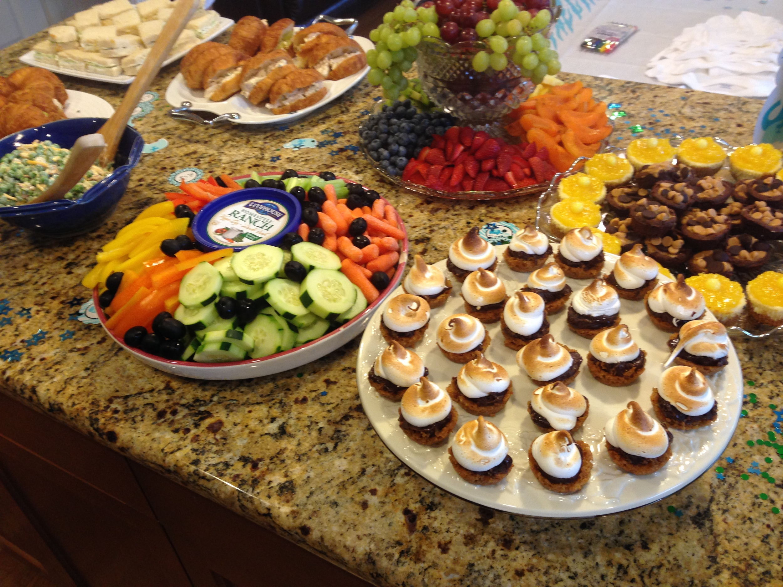 The beautiful buffet spread for the baby shower.