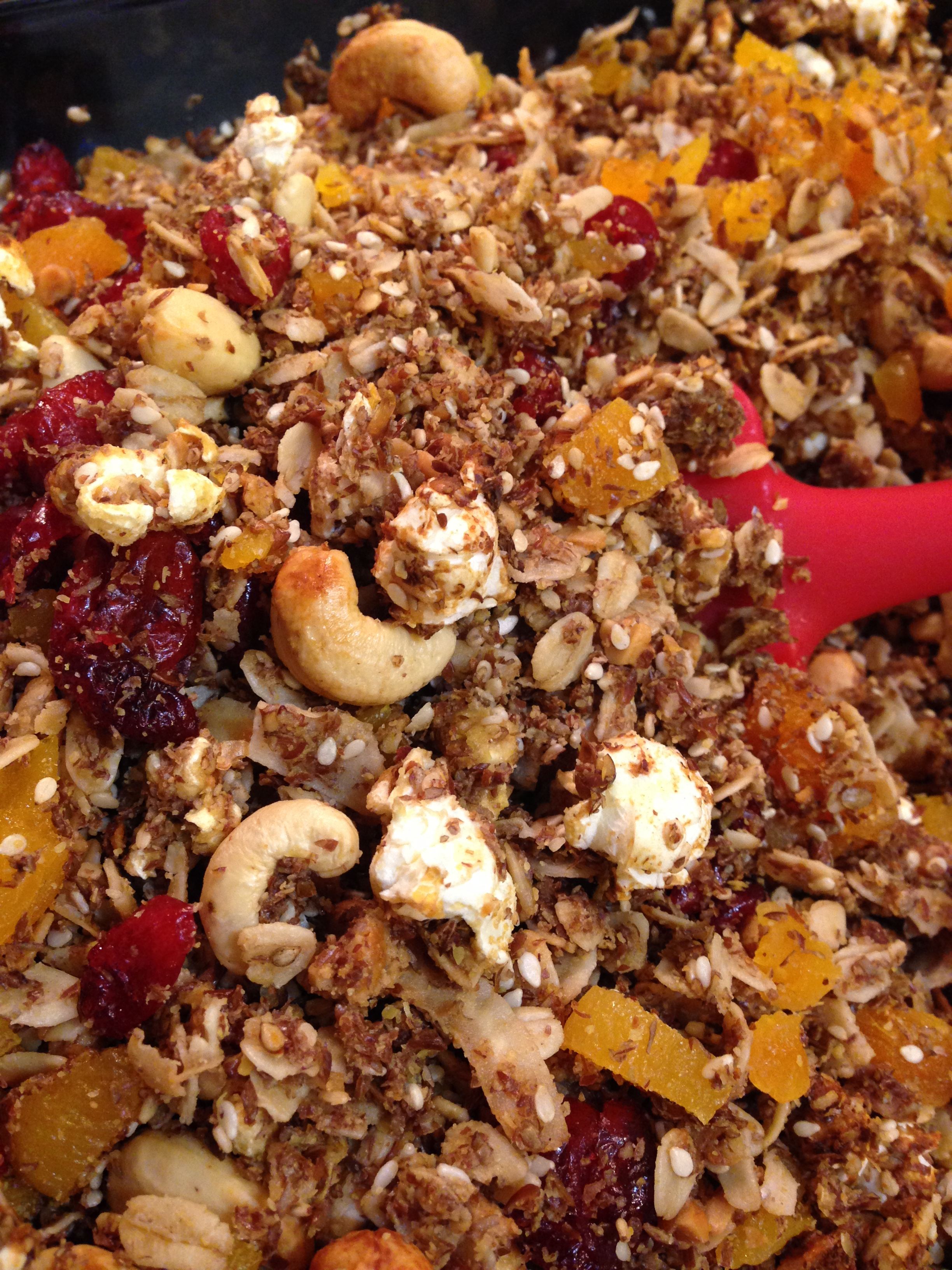 Popcorn Oat and Coconut Granola with Fruit- Gluten and Dairy Free!