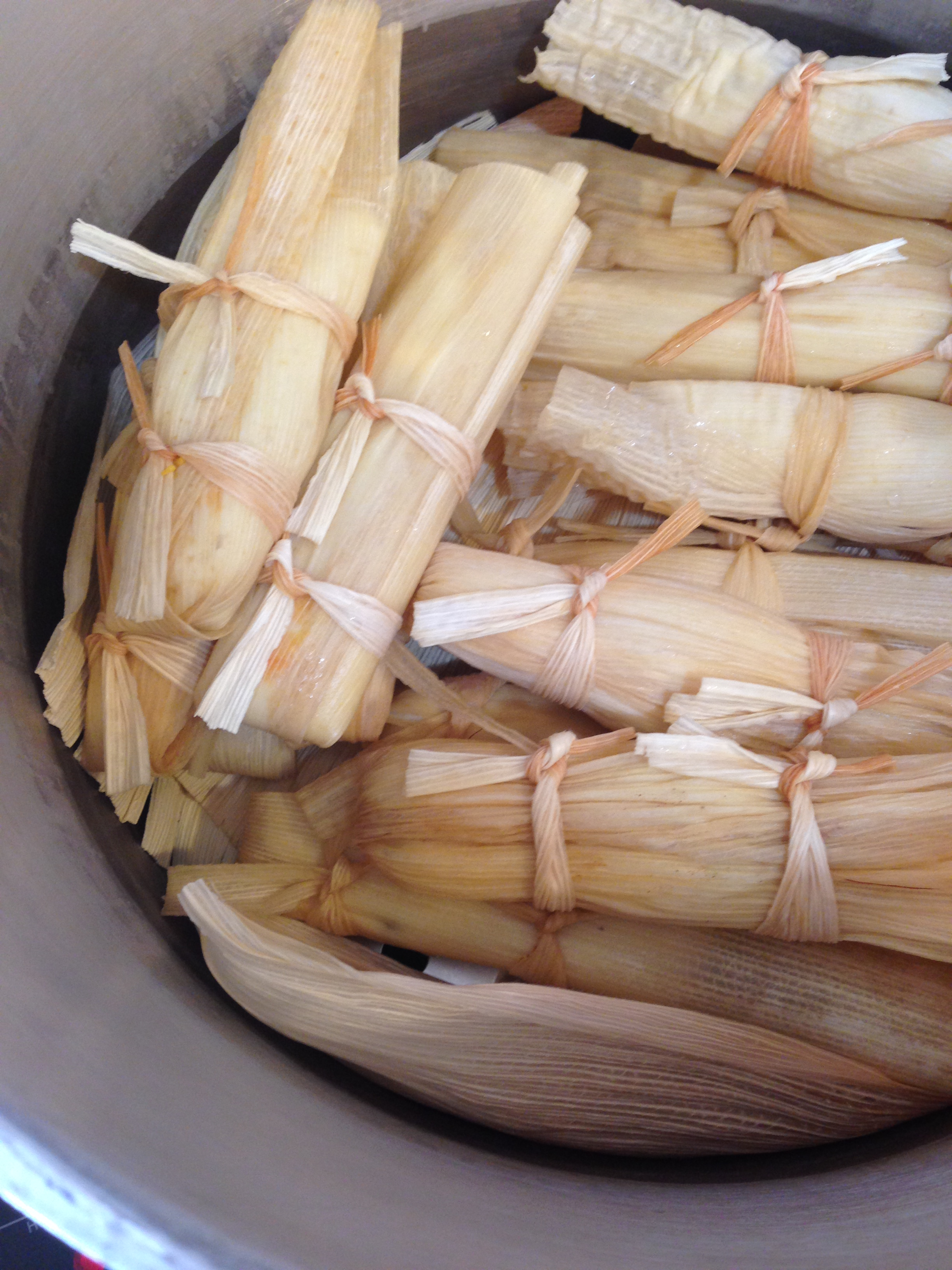 Tamales ready to steam in my pressure cooker/steamer I rigged up.