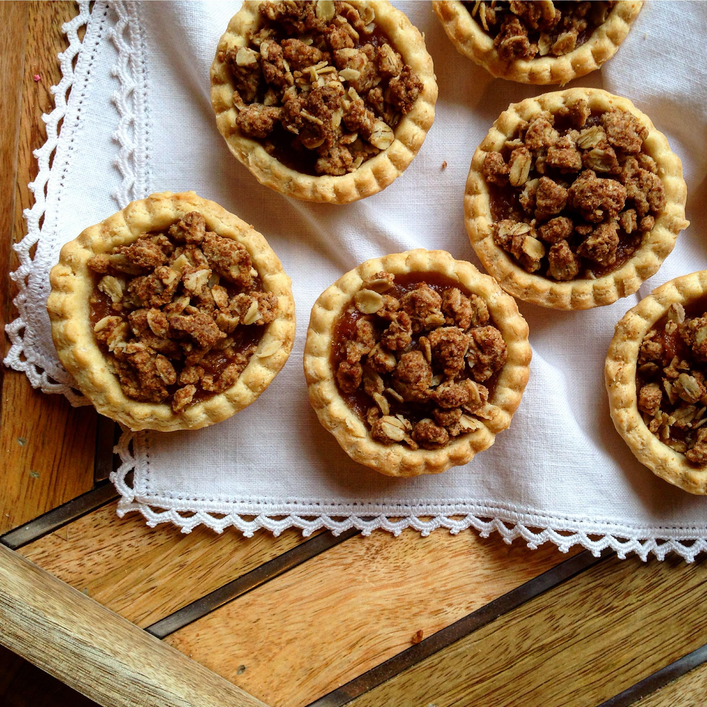 Honey Cinnamon Apple Butter Crumble Topped Mini Tarts