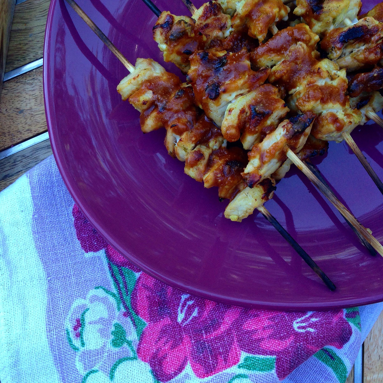Pork Satay Skewers with Spicy Peanut Sauce