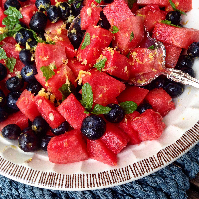 mint and lemon watermelon blueberry salad