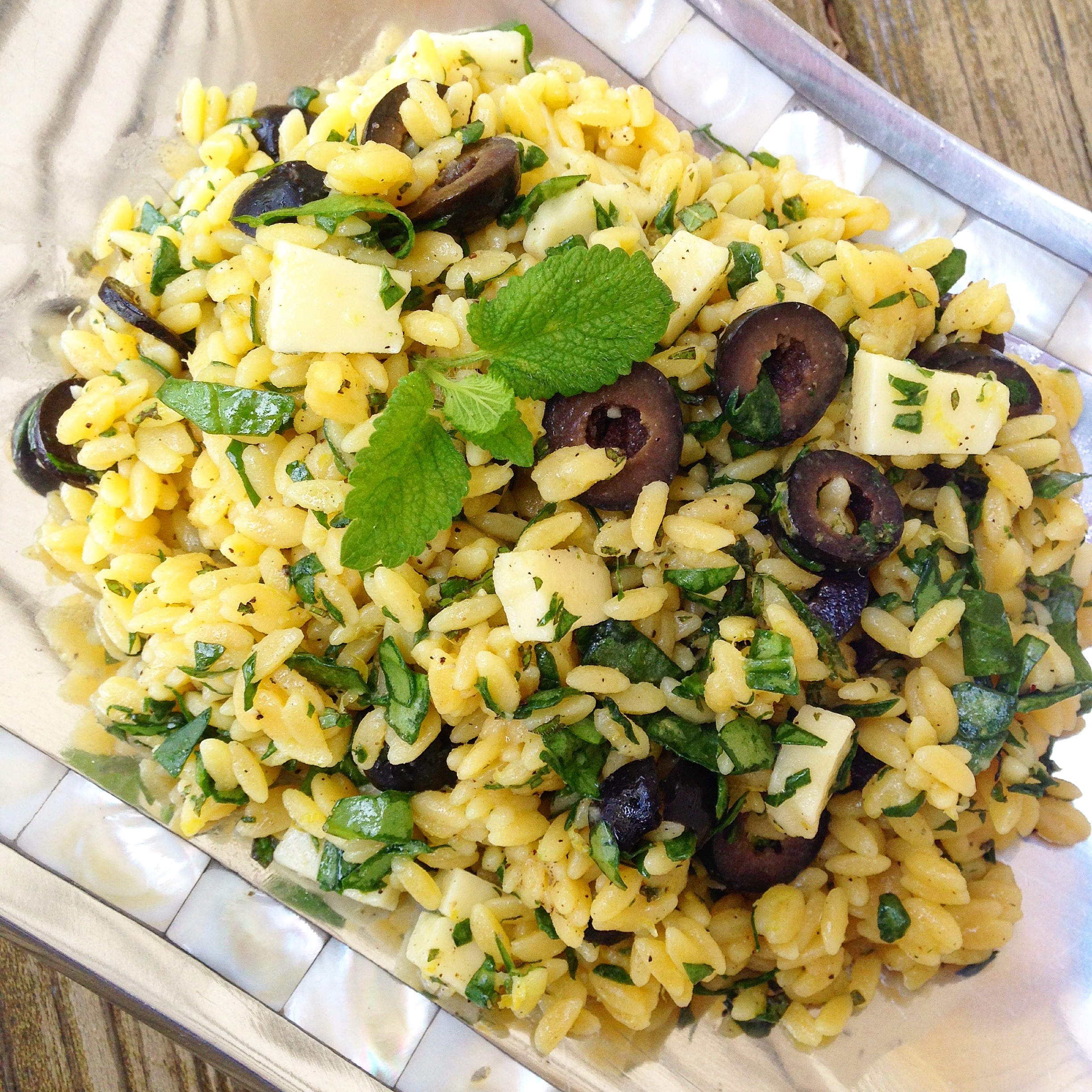 Gluten Free Lemon Balm and Mint Orzo Salad