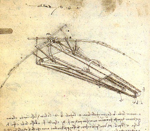 Leonardo da Vinci's design for a  flying machine  (1488), Institut de France, Paris