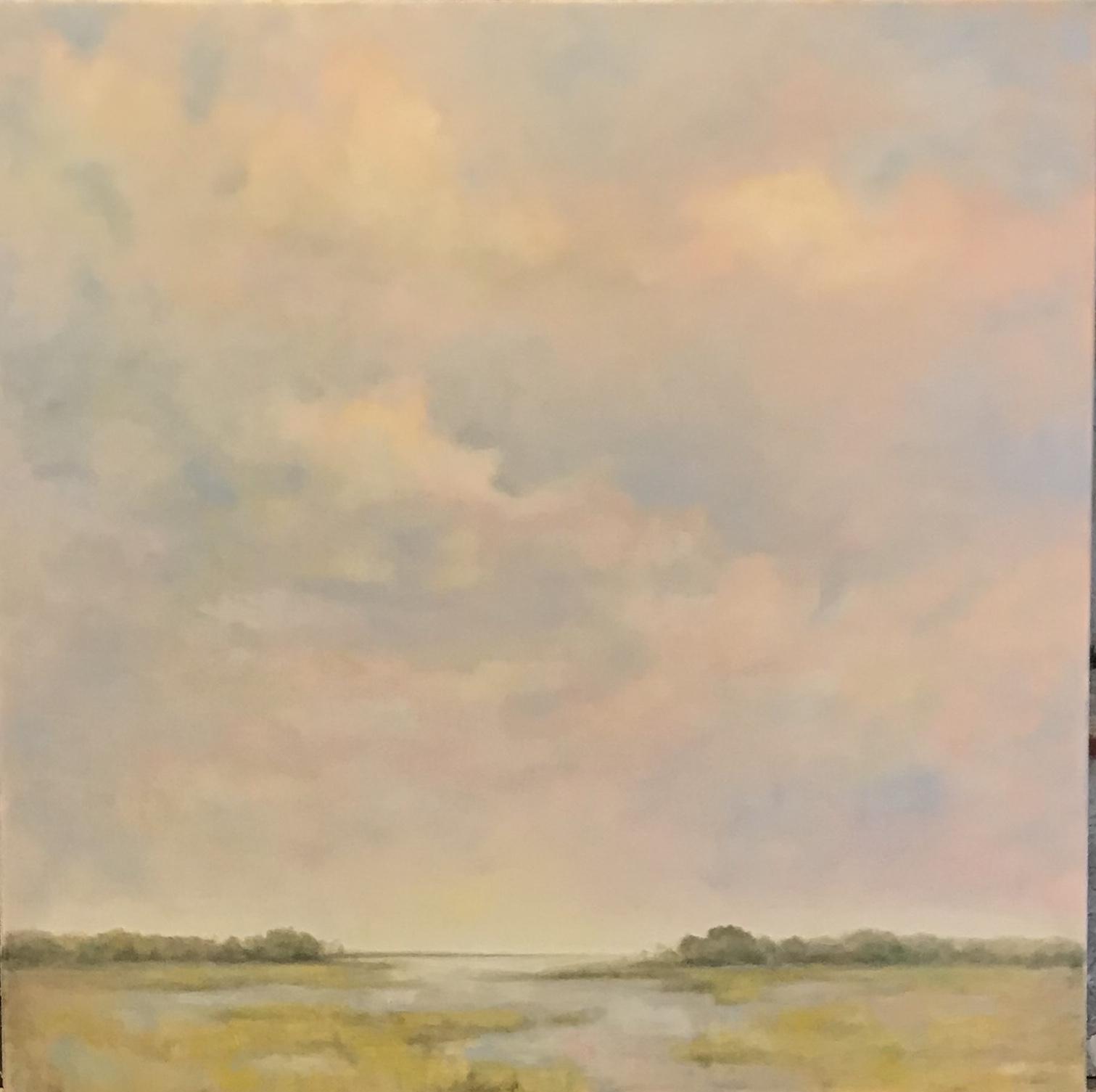 Marsh Grass and Pink Sky