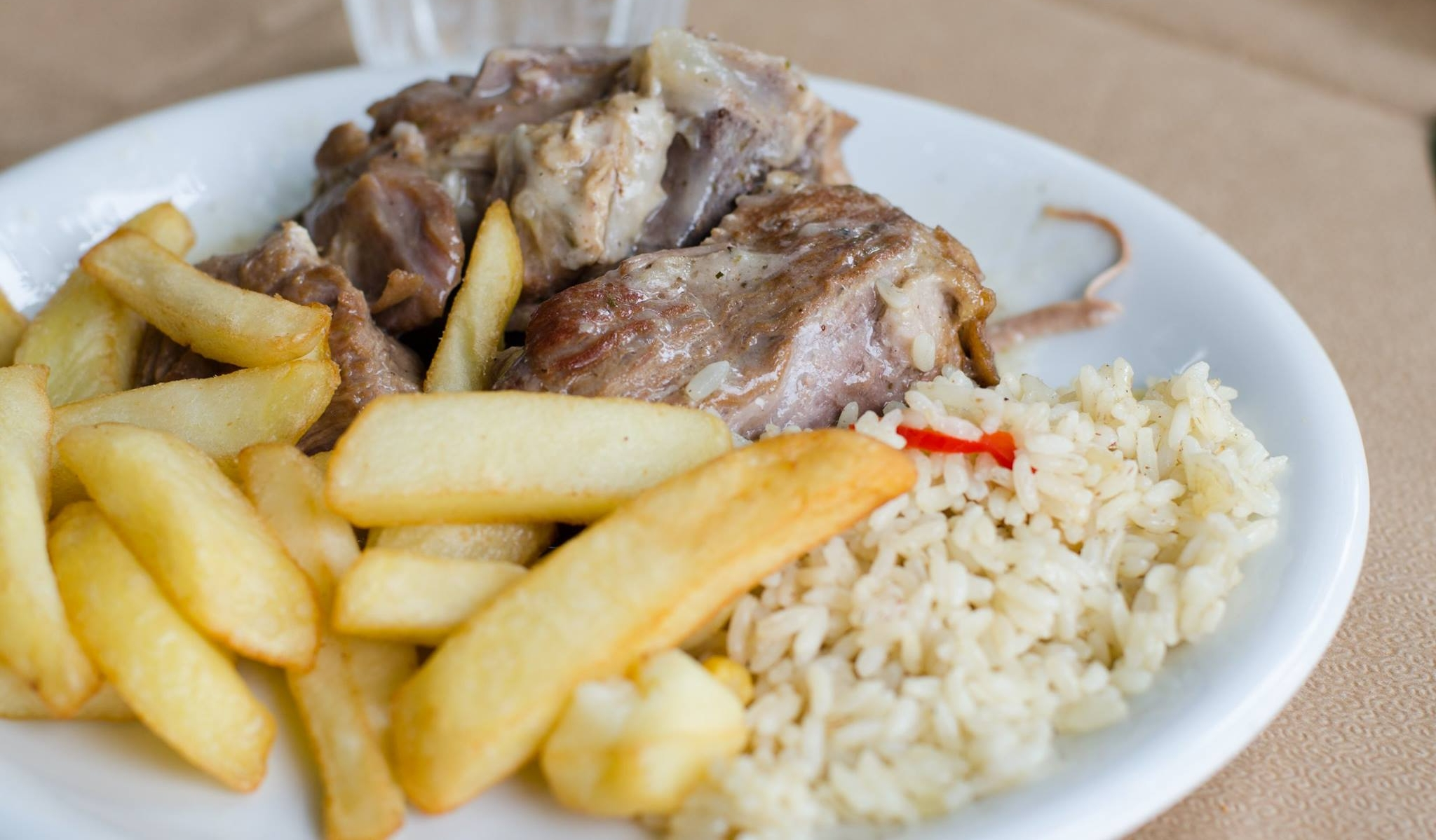 Lamb with Rice and fresh cut fries