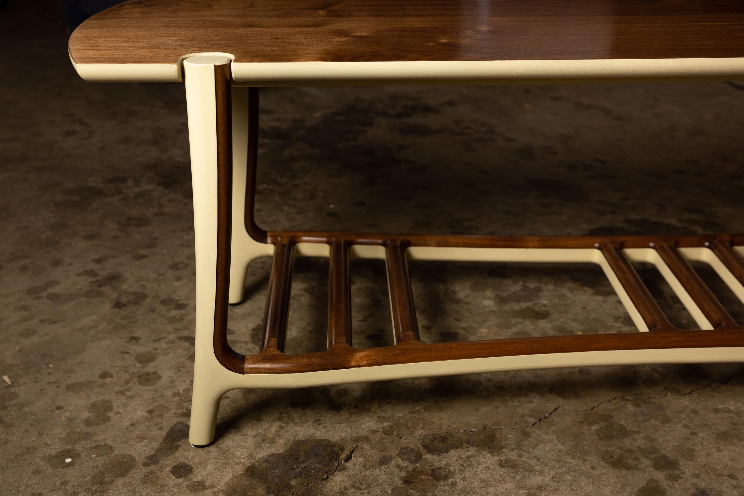 Bench in Walnut wood w/ Buttermilk milk paint