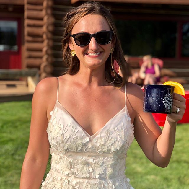 This lovely lady got HITCHED this weekend! Cheers to the best adventure yet. ❤️ #CampStable #undertheopensky #stanleyidaho #marriage #adultsummercamp