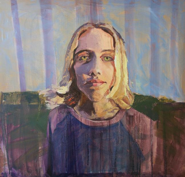 """BLUE EYES IN THE ORANGE LIGHT  22 x 23"""" oil on panel"""