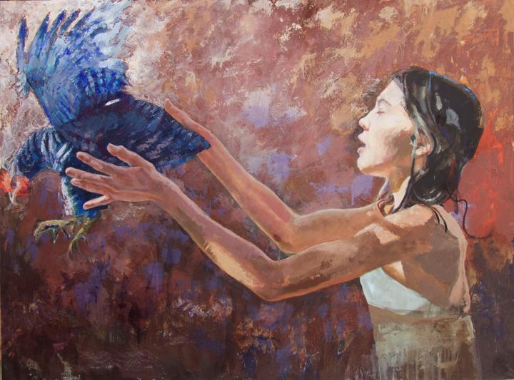 "GIRL RELEASING A BIRD  36 x 48"" oil on panel"