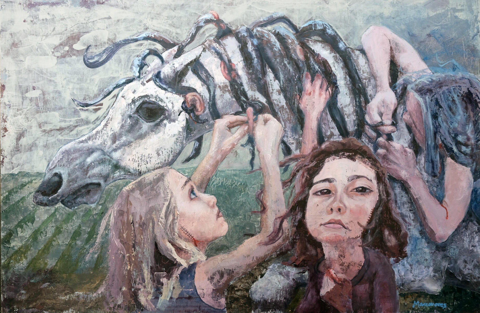 "TYING OUR EARS TO THE HORSES  24 x 36"" oil and acrylic on panel Carmody Community foundation grant"